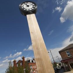Woodscape, Bespoke, Hardwood, Innovative, Hardwood, Timber, Street Furniture, Outdoor Furniture, Urban Realm, Public Spaces, Fairytale of Burscough Briidge, Clock Tower, Village Centre, Clock, BCA Landscapes, Lancashire, Councill
