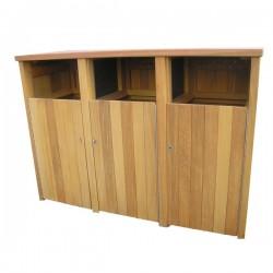 Woodscape, Bespoke, Hardwood, Innovative, Hardwood, Timber, Street Furniture, Outdoor Furniture, Urban Realm, Public Spaces, Bins, Litter bins, bin Housing, Wheelie Bin Housing, Litter Bins, Park Bins